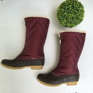 L.L. Bean duck boots w/ quilted fleece lined tops
